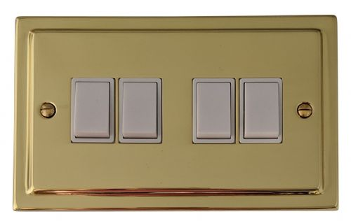 G&H TB4W Trimline Plate Polished Brass 4 Gang 1 or 2 Way Rocker Light Switch